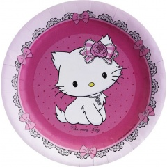 charmmy-kitty-musical-paper-plates-18-cm-amscan-551726-pack-of-8-pieces