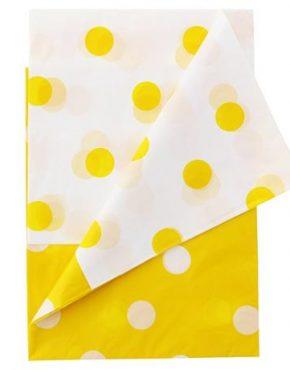 kollane täppidega laudlina